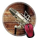 Rundes Mauspad Naturkautschuk Mousepad Klassisches Mikrofon In Holzkiste Music Studio Concept Photo 20Cm