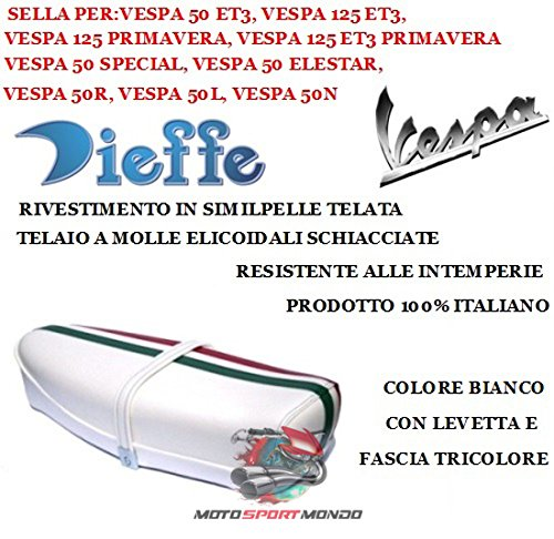 Voor Vespa 50 Special 1973-73 dressoir wit met één stuk en driehoeksband, zitvlak met materiaal van leer met zijdelingse zitting.