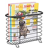 mDesign Decorative Metal Farmhouse Magazine Holder and Organizer Bin - Standing Rack for Magazines, Books, Newspapers, Tablets in Bathroom, Family Room, Office, Den - Matte Black