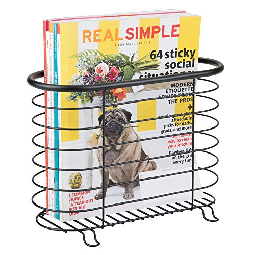 Inter Design Newspaper and Magazine Rack for Bathroom, Office, Entryway - Matte Black