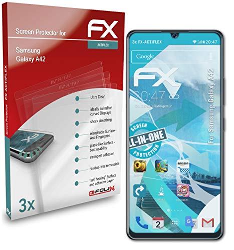atFolix Schutzfolie kompatibel mit Samsung Galaxy A42 Folie, ultraklare & Flexible FX Bildschirmschutzfolie (3X)