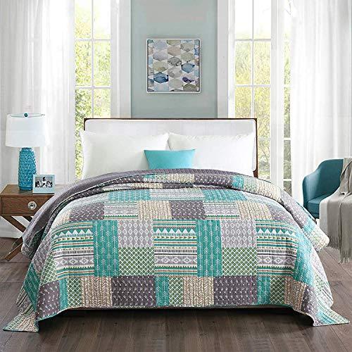 WOLTU® BD11m03, Tagesdecke Bettüberwurf Steppdecke Patchwork Wendedesign Bettdecke Stepp Decke Doppelbett unterfüttert und gesteppt, 220x240 cm