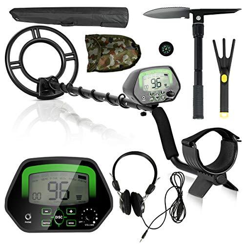 Kit de detector de metales Goplus para buscar tesoros, herramienta de alta precisión, impermeable, herramienta de caza de tesoros con bobina de búsqueda, pala de pala, modo de discriminación y auriculares (negro)