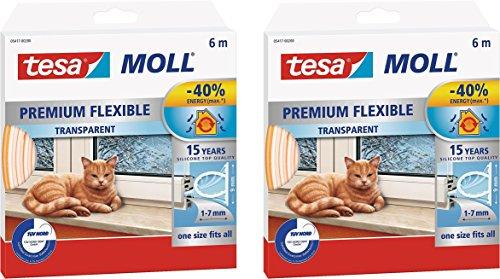 tesamoll Silikondichtung Premium Flexible - schließt Fenster- und Türspalten, transparent, 6 m (2 Packungen)