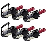 MOCOUM 2 Pack Under Counter Wine Racks, Wine Bottle Holder under Cabinet Iron Wine Storage Rack for 6 Liquor Bottles
