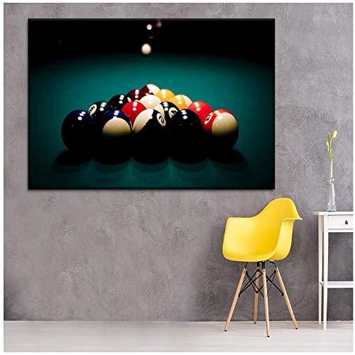 DLFALG Bolas de billar deportivo Cuadro de estilo de pintura deportiva Cuadro de lienzo de alta calidad Tipo de impresión Arte de pared Póster Club Decoración para el hogar Regalos-60x80cm Sin marco