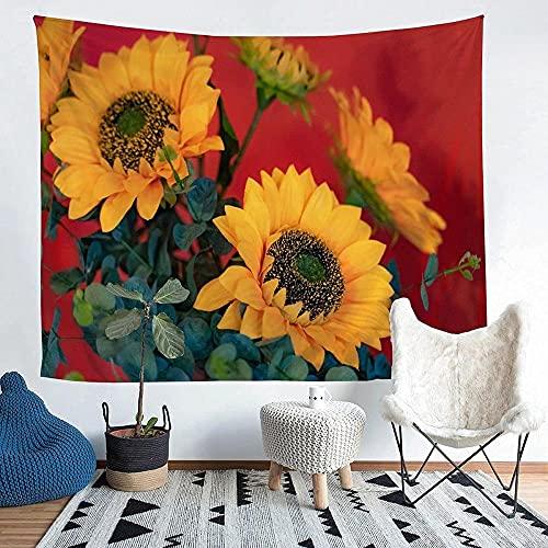 Yhjdcc Sun_Flower Tapiz para niñas y niños con estampado floral de pared, manta decorativa con patrón de flores para colgar en la pared, manta de cama de 152 cm