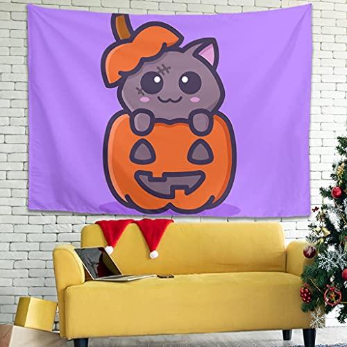 Ballbollbll Tapiz de pared con diseño de gato zombi con calabaza, diseño de dibujos animados de Halloween, para colgar en la pared, color blanco 149,8 x 129,5 cm
