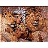 5d pintura diamante bricolaje taladro redondo completo mujer africana y leones imagen mosaico de cristal bordado de diamantes punto de cruz30 * 40 cm