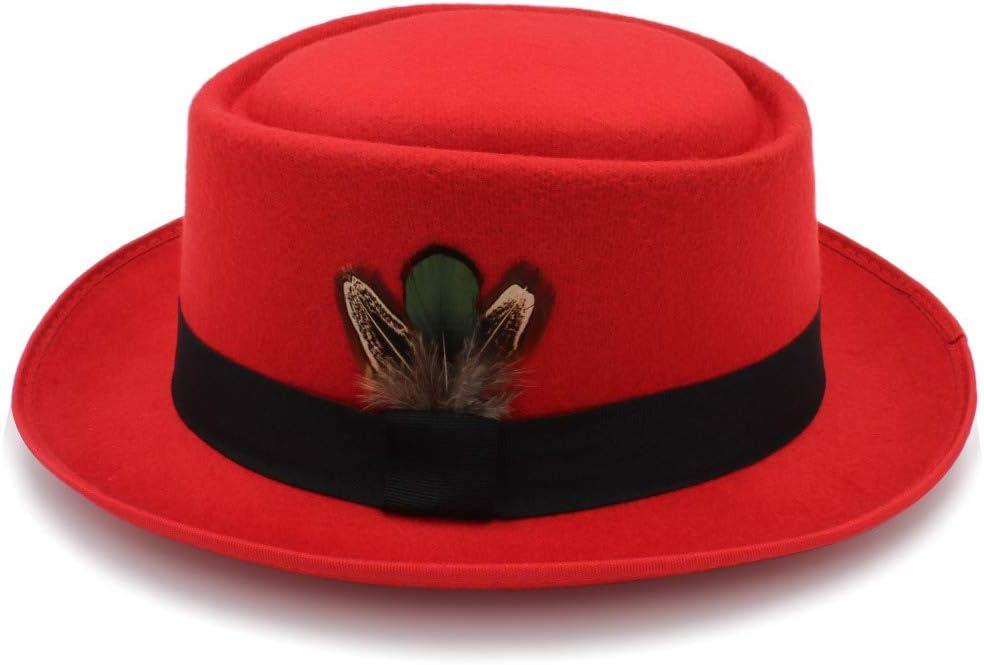 U/D Hats Women's Classic Wool Felt Black Pork Pie Hat Porkpie Jazz Fedora Hat Round Top Trilby Stingy Brim Feather Cap LHZUS (Color : Red, Size : 56-58cm)