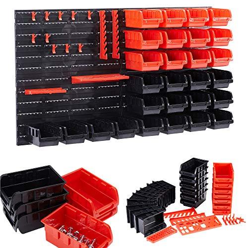 AREBOS Stapelboxen Wandregal / 46tlg Lagersystem/Rot-Schwarz / 4x Rückwand, 28x Stapelboxen, 14x Werkzeughalter/Inklusive Befestigungsmaterial/Herausnehmbar & Stapelbar