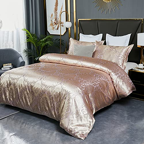 Hmtideby Juego de funda de edredón Jacquard de microfibra doble, juego de cama de 3 piezas, funda de edredón de oro rosa con 2 fundas de almohada a juego de 200 x 200 cm