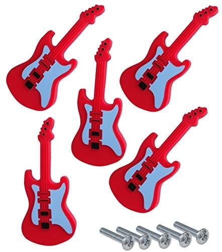AERZETIX: 5x Tirador botón para cajón alacena puerta mueble armario Guitare rojo...