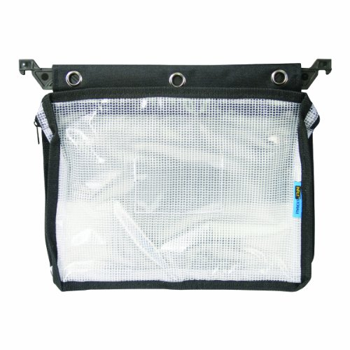 Advantus 50904 Expanding Zipper Pouch with 3-Ring Grommets, Clear Mesh, Black, Clear/Black