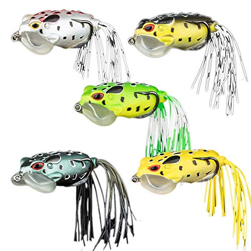 GREATEE Topwater Bass Fishing Frog Lure Floating Weedless Toad Soft Bait for Bass Snakehead Salmon Trout Catfish, Freshwater Saltwater Fishing (5pcs Picture Color)