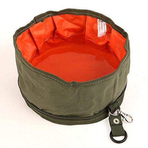 Tping Faltbar Reisenapf Hunde Katzen Haustier Fressnapf Hundenapf Futternapf Wassernapf Outdoor Wasser Tasche - Armeegrün