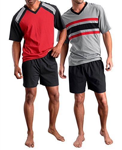 Le Jogger Herren Pyjama kurz, 2er Pack, V-Ausschnitt, Schlafanzug, Nachtwäsche, 453621 (48/50, farb-set)