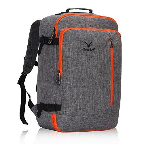 Veevan Cabin Flight Approved 38 Litre Weekend Backpack Carry On Bag Travel Hand Luggage Grey Orange