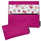 SIMON PIKE Hülle Tasche kompatibel mit BQ Aquaris C   Filztasche Newyork in 14 pink aus Filz (echtem Wollfilz) Handyhülle