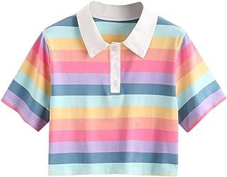 Xmiral Damesblouse, regenboog, strepen, knopen, hemdkraag, korte sweatshirt, tops
