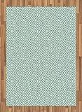 ABAKUHAUS Dominante Griego Alfombra de Área, Laberinto Cuadros, Material Durable Resistente a Las Manchas Apta Lavadora, 160 x 230 cm, Verde Menta Blanca