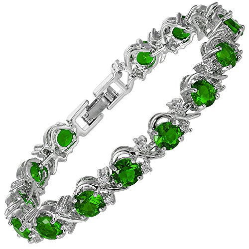 """RIZILIA Blossom Round Simulated Green Emerald and White Cubic Zirconia 18K White Gold Plated Tennis Bracelet, 7"""""""