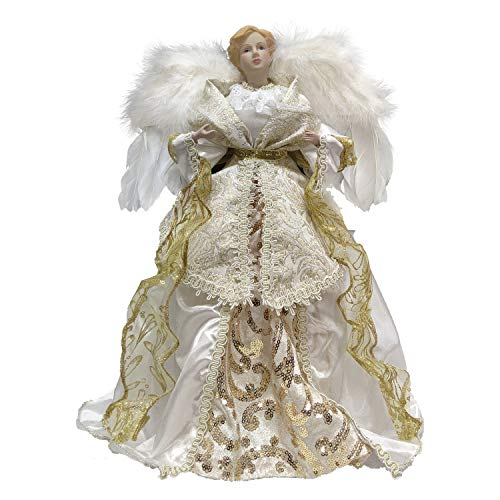 BQS 16-Inch Christmas Treetop White and Gold Angel Tree Topper