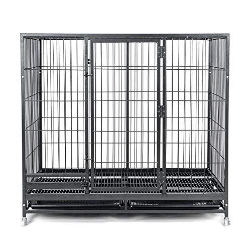 YFASD Recinzione Recinto per Cani Conigli Roditori Animali Rete Gabbia di Ferro Nero Robusta Struttura in Metallo Verniciatura A Polvere Antiruggine Progettata con Mini Divisori,XXL.125 * 94 * 112CM