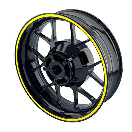 OneWheel Felgenrandaufkleber 8mm Motorrad & Auto (15-19 Zoll) - Farbe wählbar - 10 Felgenstreifen für Vorder- & Hinterreifen (Gelb -glänzend)