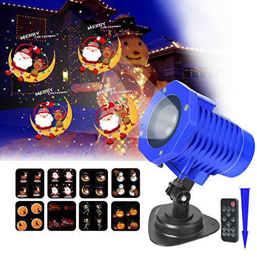 Christmas Holiday Lights Projector, Outdoor Indoor Decorative Projector with Remote Control Motion Animated Lights Projector, Waterproof Landscape Lamp for Christmas Halloween Wedding Party Gift