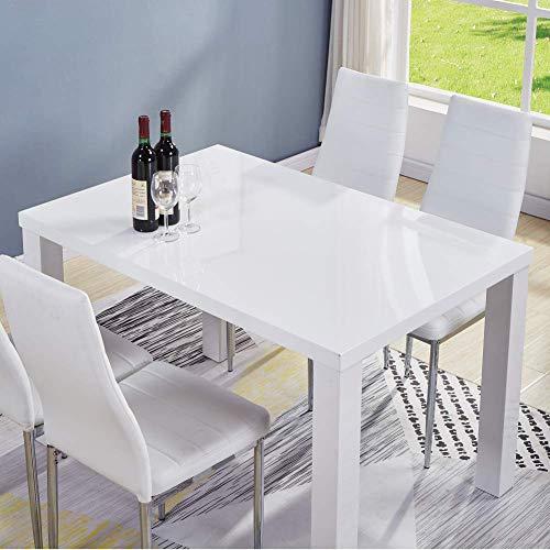 GOLDFAN Esstisch Holz Weiß Moderner 110cm Rechteckiger Hochglanz Küchen Esstisch für Esszimmer Wohnzimmer, Nur Tisch