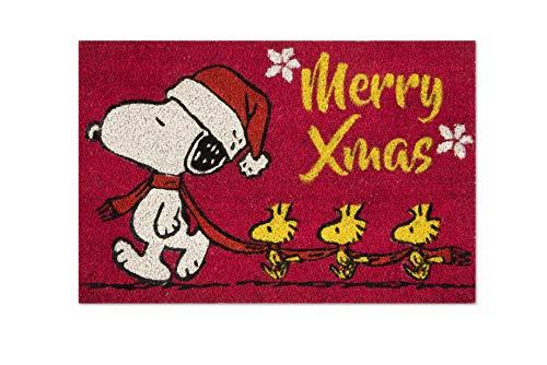 Excelsa Peanuts Christmas - Felpudo para Entrada, Fibra de Coco, Rojo, 40 x 60 cm