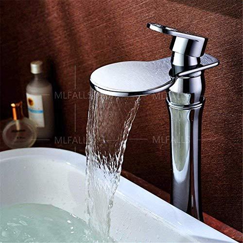 SCLL - Grifo de baño con orificio para válvula de cerámica con salida de cascada de bronce antiguo con ducha fría y caliente, grifo de lavabo de baño, grifo mezclador para baño/lavabo, válvula de ducha
