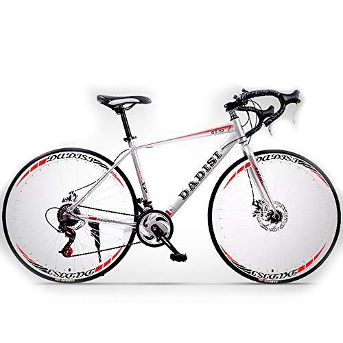 H-LML Bicicleta de Carretera de 27 Pulgadas Hombres y Mujeres Velocidad de aleación de Aluminio Frenos de Disco Bicicletas Curvas Carreras,Gray,27