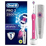Oral-B Pro 2 2500 3D White Electric Rechargeable Toothbrush, Pink Handle, 2 Modes: