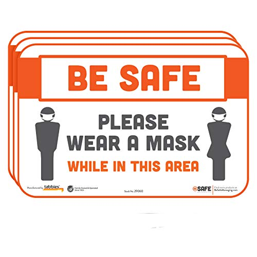 BeSafe Messaging'Be Safe, Please Wear a Mask While in This Area', 3-Pack 9'x6', Repositionable Wall & Door Safety Signs, Perfect for Most Surfaces