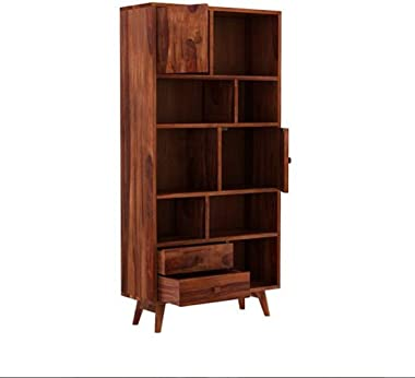 TS Tiny Space Sheesham Wood Open Bookcases Shelf with 2 Drawer & 2 Cabinet Storage ( Honey Brown)
