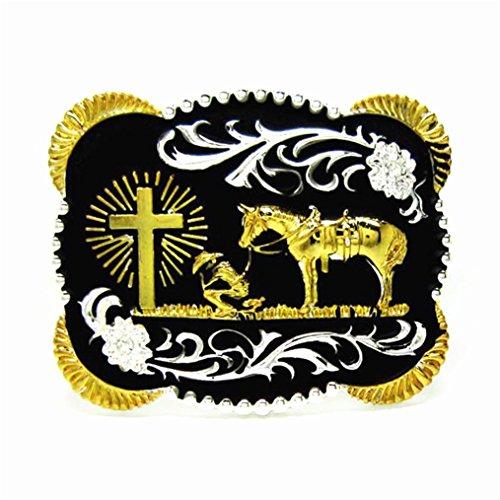MASOP 3D Rectangle Western Cowboy Horse Prayer Gold Cross Belt Buckle Metal Men