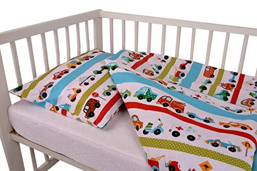 Zweiteilige Baumwollbettwäsche für Babybetten 100% Baumwolle 100x135 cm + Kissen 40x60 mit verdecktem Reißverschluss Babybettwäsche Kinder Bettwäsche (Autos)
