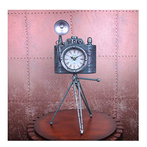 Reloj de mesa Reloj de Escritorio Cámara de Moda Antigua de Hierro Forjado Reloj de pie Sala de Estar Dormitorio Decoración del Reloj Mute Reloj de péndulo (Color : B)