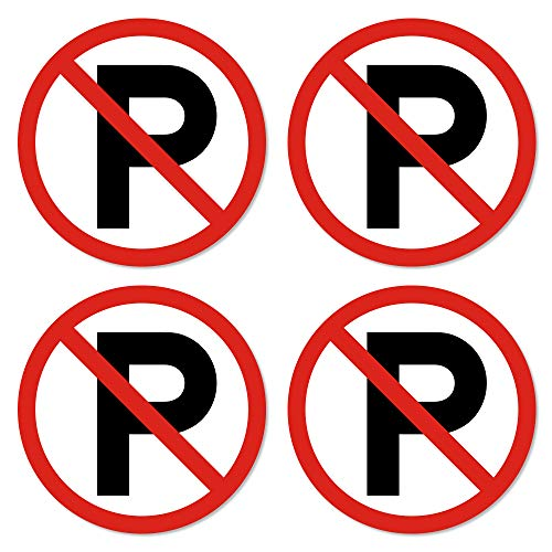 dealzEpic - No Parking Sign - Self Adhesive Peel and Stick Waterproof Warning Vinyl Decal - 3.94 inches in Diameter | Pack of 4 Pcs