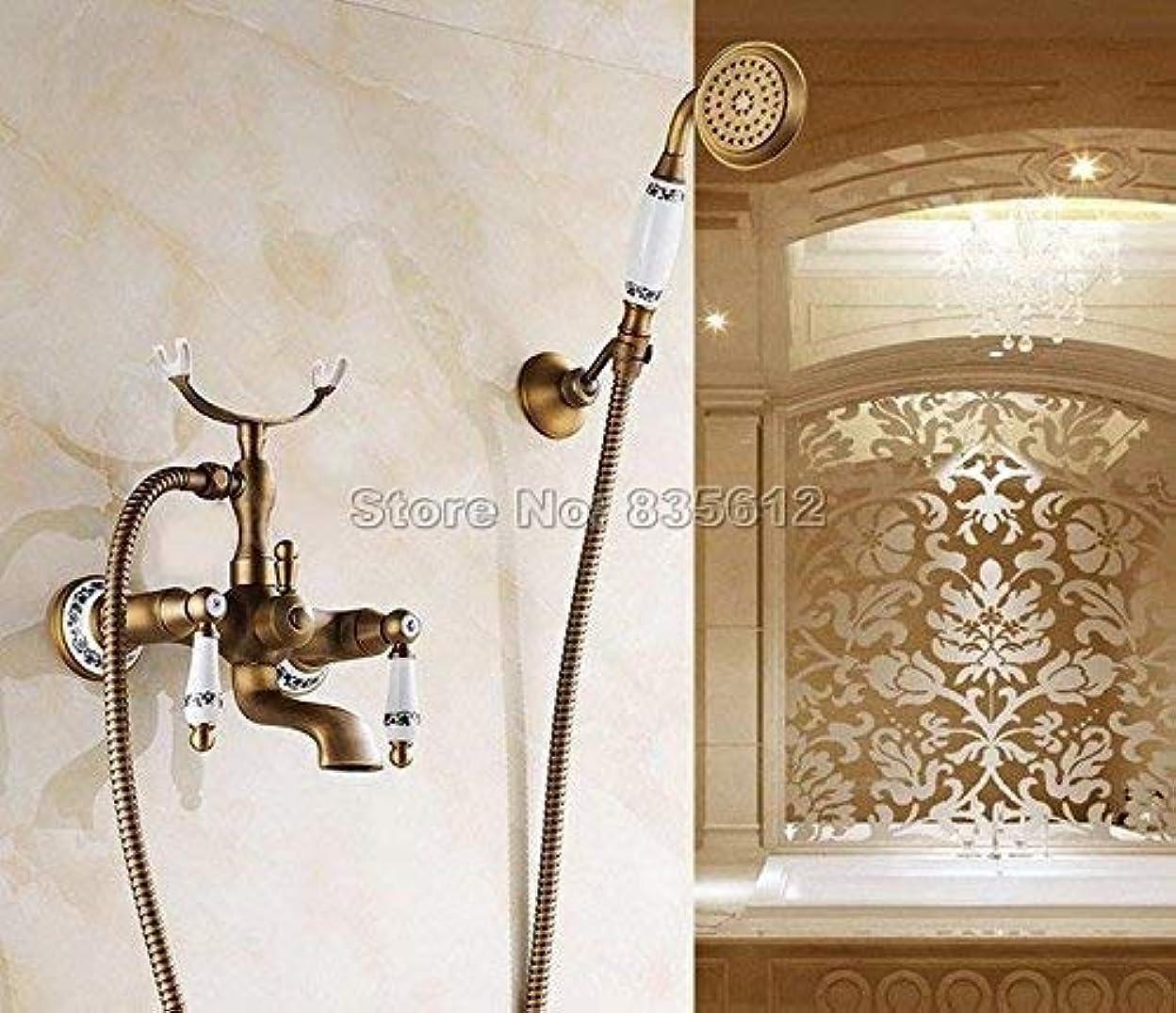 コロニー解任リビジョンシャワーシステム、蛇口デュアルホルダーデュアルコントロール浴槽ミキサータップハンドヘルドシャワーヘッドアンティーク真鍮の壁に取り付けられた浴室の蛇口Wtf308、黄色の家の使用