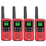 Retevis RT649B Walkie Talkies, PMR446 Licencia Libre, 16 Canales, Linterna LED, Batería Recargable 3AA, Escaneo VOX, CTCSS/DCS, Walkie Talkie para Senderismo, Camping, Viajes (4 Piezas, Rojo)