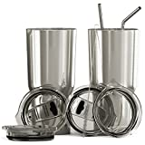 Bluepeak Double Wall Stainless Steel Vacuum Insulated Tumbler Set, 2-Pack, Includes Sipping Lids, Spill-Proof Sliding Lids, Straws, Cleaning Brush & Gift Box (30oz, Stainless Steel)