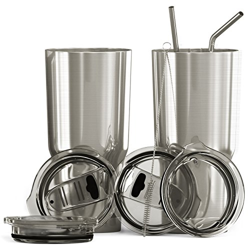 Bluepeak Double Wall Stainless Steel Insulated Tumbler Set, 2-Pack, Includes Sipping Lids, Spill-Proof Sliding Lids, Straws, Cleaning Brush  Louisiana