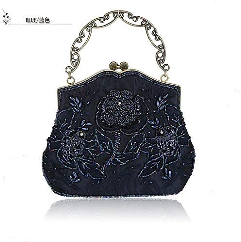 Ladies Handbag Handbag Handmade Bead Embroidery Bag Boutique Hand Bag Ladies Handbags greenical, Square Small Square Package Magnetic Closure Package (color   Dark blueee)