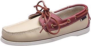 XFQ Chaussures Bateau Homme, Chaussures De Pont Classique en Cuir Ville Chaussures Casual,White Red,40EU