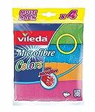 Vileda Microfibre Colors Pack de 4 Chiffons Lavettes Multi-Usages
