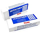 Hi-Polymer Large Plastic Rubbers Erasers - White - Pack of 2