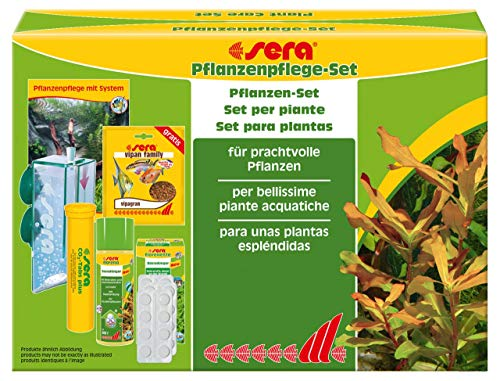 Sera - Set per la cura delle piante acquatiche in acquario, un piccolo impianto di CO2 per un acquario fino a 120 litri e fertilizzante per tutte le piante acquatiche
